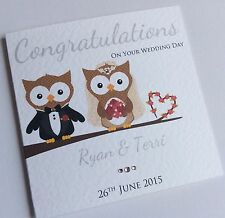 Handmade Personalised Owl Bride and Groom Wedding Congratulations Card
