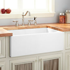 "30"" Mitzy Fireclay Reversible Farmhouse Sink Smooth Apron in White"