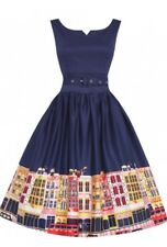 Lindy Bop 'Delta' Navy Carnaby Street Border Swing Dress �� Size 12 ��