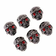 6Pcs Electric Guitar Volume Tone Control Knobs Skull Head With Red Eyes