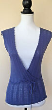 NWT Anthropologie Moth Open Front Crochet Boho Sleeveless Knit Blue Top Size M