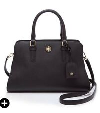 NWT TORY BURCH Robinson Curved Satchel Tote Bag Purse Black Gold Leather $550
