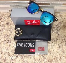 Ray Ban RB 3016 1145/17 Blue Flash Clubmaster Matte Havana/Gold Sunglasses 49mm