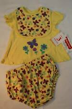 NEW Baby Girls 3 pc Outfit Size 3 - 6 Months Shirt Diaper Cover Bib Set Yellow B