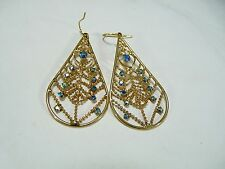 Gold Tone Earrings Peacock Feather Design Wire Dangle
