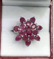 Solid .925 Silver Big Flower Cluster  Ring, Natural Ruby. Sz 5.75