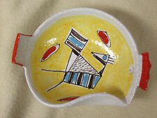 Unusual Vtg Mid Century Modernist Rooster Bowl Raymor Bitossi Italy Signed