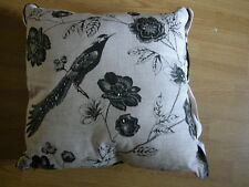 NEXT ETCHED BIRD BLACK NATURAL EMBROIEDRED  BEADED CUSHION GOES CURTAINS 50x50CM