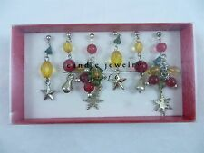 NEW Pier 1 Set of 6 Holiday Christmas Candle Jewelry Bells Snowflake Stars Beads