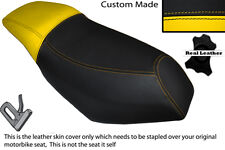 YELLOW & BLACK CUSTOM FITS MALAGUTI PHANTOM F12 100 DUAL LEATHER SEAT COVER
