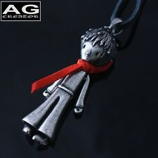 "The little prince red scarf vintage style pendant 30"" black leather necklace"