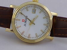 Rotary St Moritz Ladies Swiss Watch Gold Plate Leather Strap LS03616/02