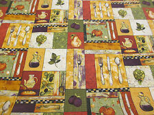 "Kitchen Design ""Just Cookin"" Printed 100% Cotton Poplin Fabric. PER METRE!"