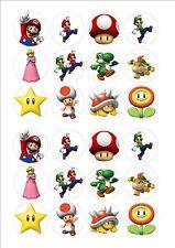 Super Mario Comestibles Hada Cup Cake, Decoración Toppers Papel De Arroz X 24 Sm2