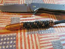 550 paracord knife lanyard /copper bullet bead and copper plated emerson bead