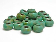 5x8mm Green Turquoise Picasso Faceted Large Hole Rondelle Roller Beads (10)#4956
