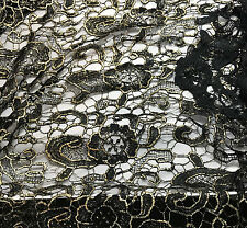 """Black & Metallic Gold Fan Floral LACE Fabric 9""""x22"""" remnant"""