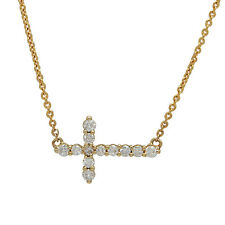 $1026 NATURAL 14K YELLOW GOLD .26C PAVE DIAMOND SIDEWAYS CROSS PENDANT NECKLACE
