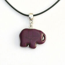 Turquoise Elephant Charm Pendant Necklace with Black Cord