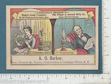 8391 Plume & Atwood, Boston Lamp Co trade card kerosene A. O. Barker, Wilton, NH