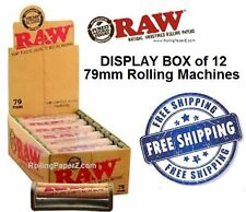 Display BOX (12) 79mm RAW Hemp Plastic Roller Rolling Machines for 1 1/4 papers