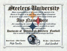 STEELERS  PITTSBURGH STEELERS  MAN CAVE CERTIFICATE    DIPLOMA  GREAT    GIFT