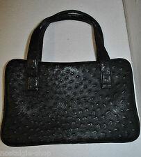 50er 60er Henkeltasche schwarz Straußenleder Optik Damen Handtasche 50s 60s Bag