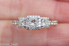 New 14K Princess Diamond Halo Past Present Future engraved 3 Stone Ring White 7