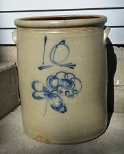 Rare Antique Primitive 10 Gallon Red Wing Salt Glaze Stoneware Butterfly Crock