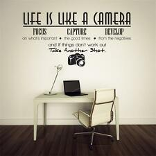 Art Words Wall sticker Life is like a camera Home decor PVC letters decals mural