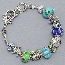 European Style Seashell Star Fish Beach Beaded Bracelet W/Glass Crystals & Beads