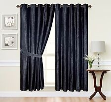 CRUSH VELVET Curtains Eyelet Ring Top thick Crush Velvet Ready Made fully Lined