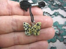 (an-but-8) BUTTERFLY White black spotted spots carving Pendant NECKLACE FIGURINE