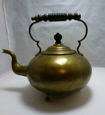 VINTAGE BRASS FOOTED ENGLISH GOOSE NECK TEAPOT KETTLE w/FIXED WOODEN HANDLE
