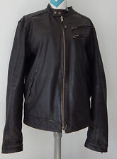 Jimmy'z Black Leather Motorcycle Jacket Lg Moto Distress Vtg Bomber Coat Jimmy Z
