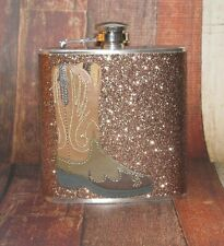 COWGIRL COWBOY WESTERN BOOT SPARKLY GLITTER  HIP FLASK FLASKS BIRTHDAY GIFT!