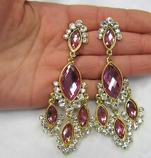 Gold Plated Pink Rhinestone Crystal Dangle Chandelier Earrings # 20651 New