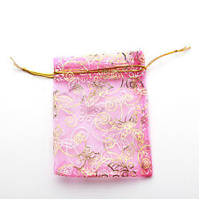 50x Wholesale Rosy Leaves Organza Pouch Gift Bags 9x12cm Fit Jewelry Packaging D