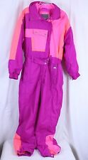 VTG Inside Edge Womens Snow Ski Suit Bib Large One Piece Bright Pink Purple Orng