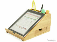 Desktop Organiser: iPad Tablet Station Books Holder. Made from Bamboo Wood