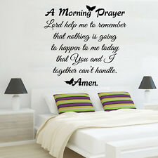Family Wall Decal Quote Morning Prayer Vinyl Sticker Christ Bedroom Decor KI73