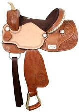 "15"" Double T Barrel Racing Racer Suede Roughout Tooled Leather Flex Tree Saddle"