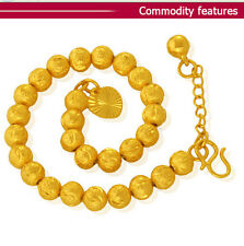 Fashion Jewelry 24K Gold Plated Lucky Prayer Beads Chain Bracelet 5MM HH019