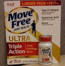 New Schiff Move Free ULTRA TRIPLE ACTION Joint Cartilage Bone-75 Tab EXP 2019/05