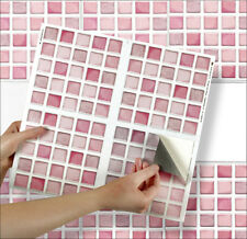 "4 Tile Transfer Stickers 6"" x 6"" PINK MOSAIC for Kitchen & Bathroom tiles"