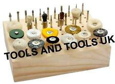 "WOODEN STAND HOLDER RACK ORGANIZER FOR DREMEL CUTTING BURR BITS 1/8"" SHANK"