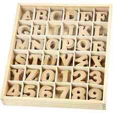 Set of Letters & Numbers - MDF - in wooden box - 288 assorted - 4cm Plain Craft