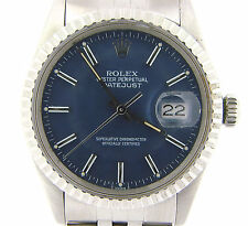 Rolex Datejust Mens Stainless Steel Watch Quickset Blue Dial Jubilee Band 16030