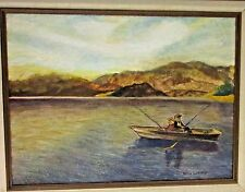 Vintage Original Signed Oil Painting, Boating/Fishing Scene - Wilma Guthrie