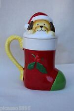 Pfaltzgraff Puppy Surprise Dog Stocking Covered Christmas Coffee Mug Tea Cup